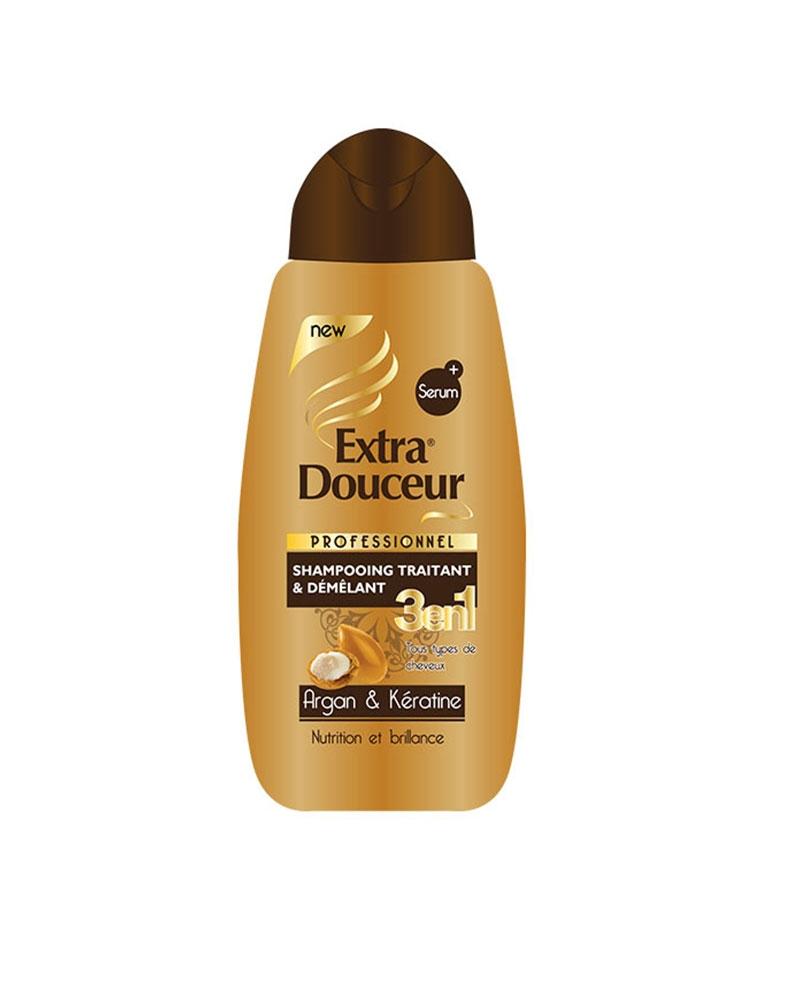 Shampoing Extra Douceur 3 en 1 Argan et Kératine 280 ml
