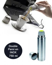 IBILI - Bouteille Isotherme pour Liquides en Acier Inoxydable 750 ml Double Paroi