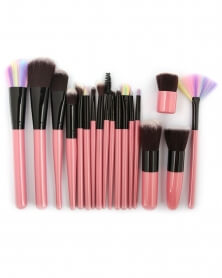 Kit Complet de 18 Pinceaux de Maquillage Professionnels Rose