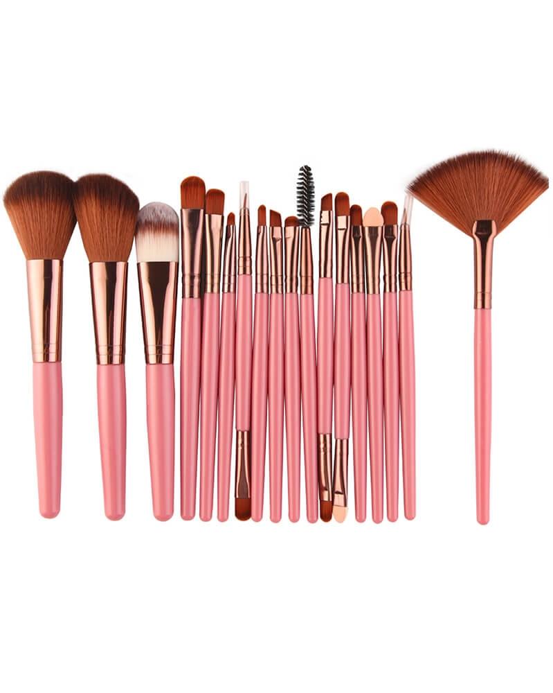 Ensemble de 18 pinceaux de maquillage professionnel Rose