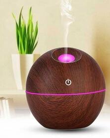 موزع آلي للزيوت الأساسية والعطور بني للمنزل والسيارة مع USB و LED