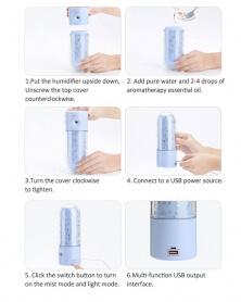 Humidificateur Diffuseur Aromathérapie LED 7 Couleurs avec double USB - Rose